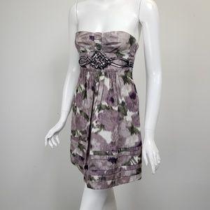 BCBG Purple Print Silk Strapless Dress
